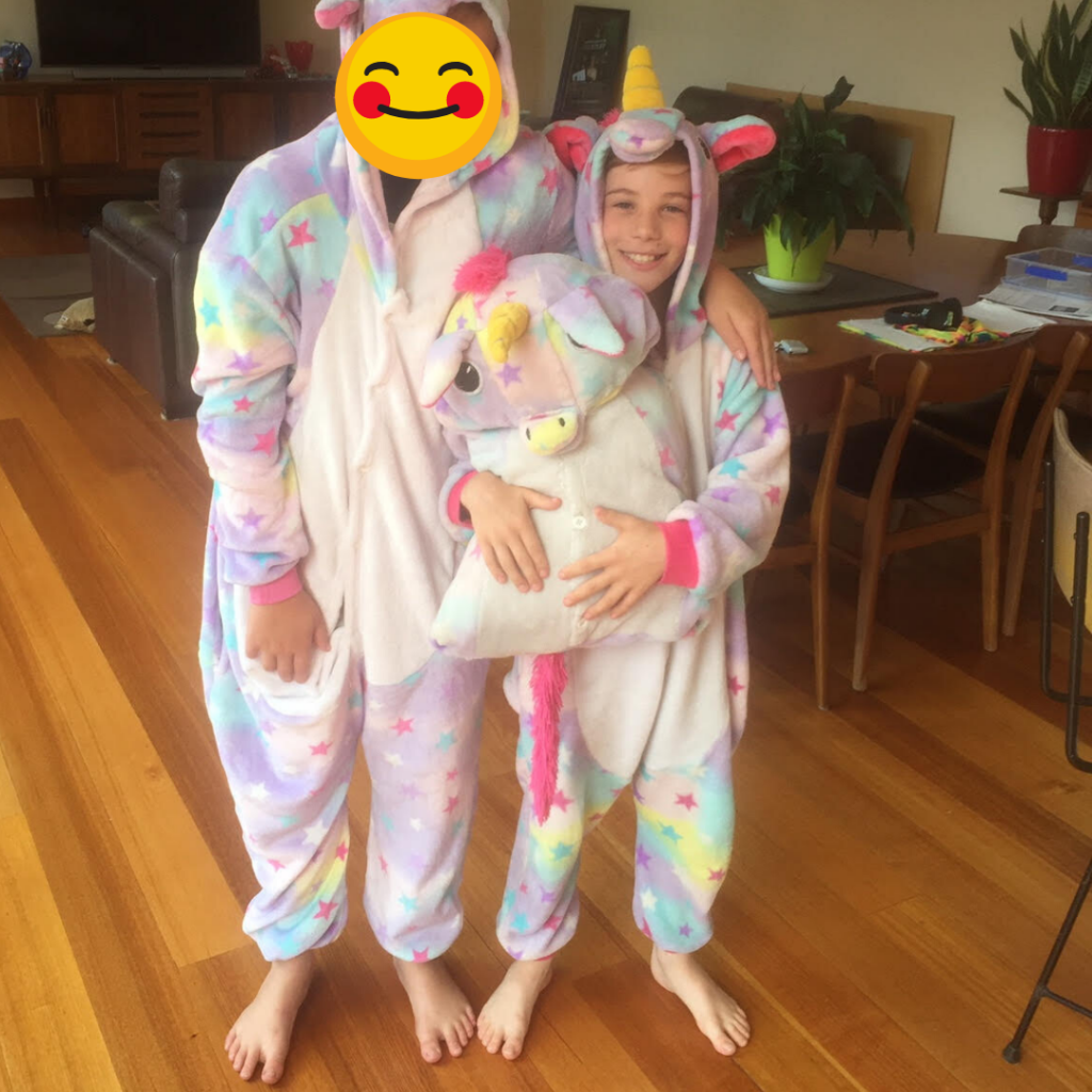 Boys wearing unicorn onsie and onsie cushion