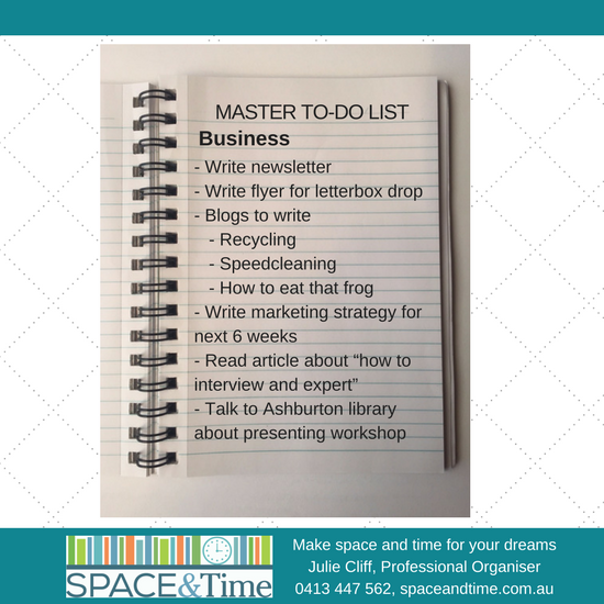 master to do list professional organiser melbourne space and time