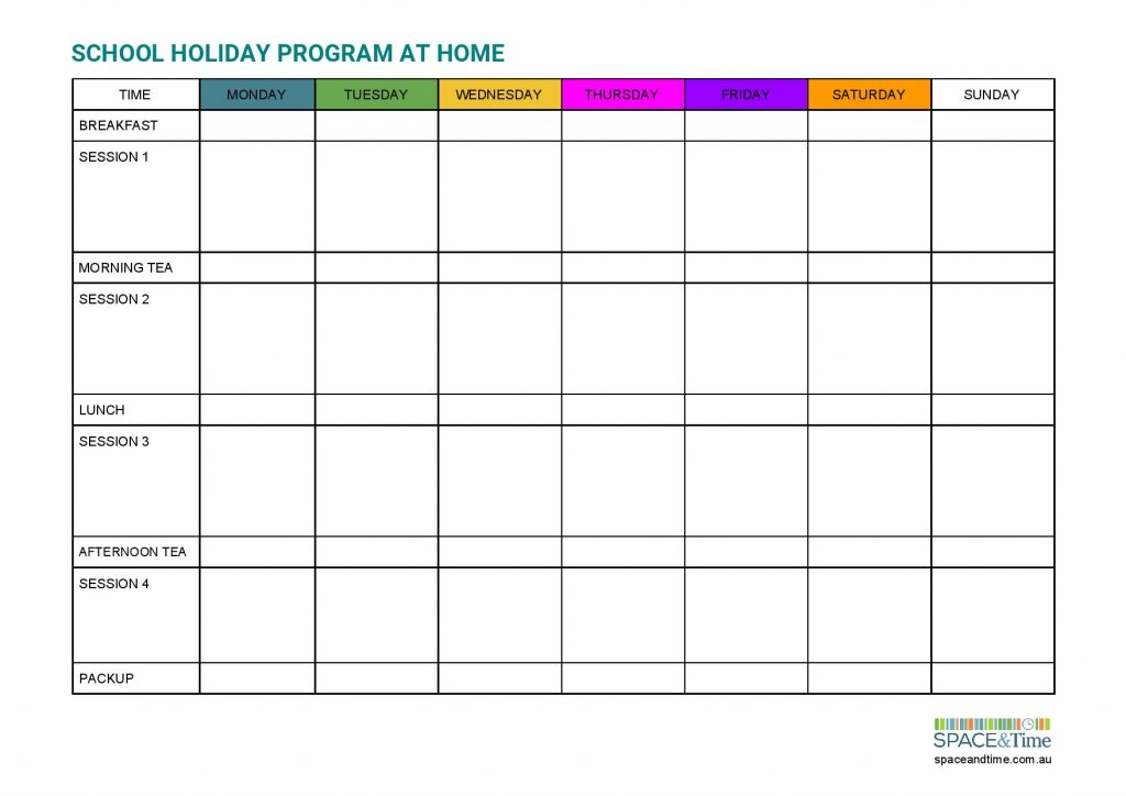 School holiday program planner