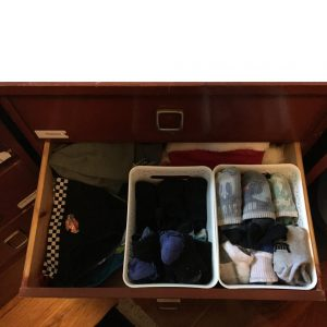 organise sock drawer with baskets