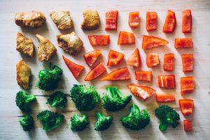 cut up vegetables for dinner